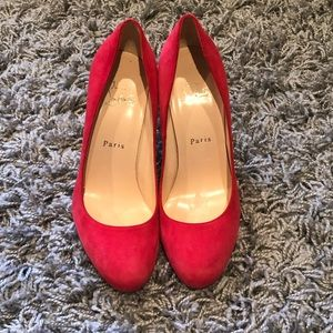 Christian Louboutin Red Dorissima Suede Pumps